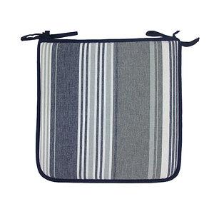 Galette de chaise rayée gris / bleu biais bleu marine