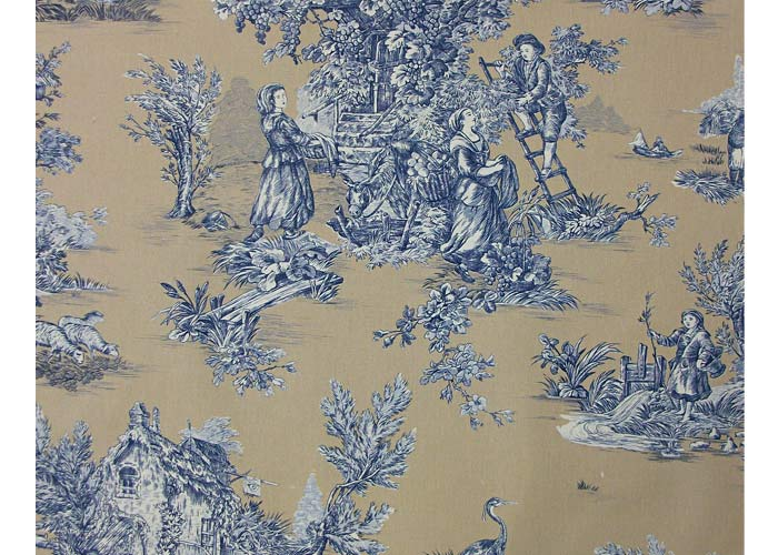 tissu 100 coton motif toile de jouy. Black Bedroom Furniture Sets. Home Design Ideas
