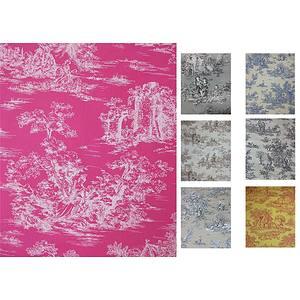 Tissu 100% coton motif Toile de Jouy en 280 cm de large