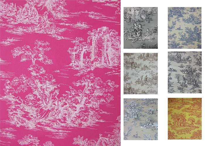 tissu 100 coton motif toile de jouy en 280 cm de large toile de jouy grande largeur. Black Bedroom Furniture Sets. Home Design Ideas