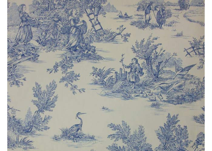 tissu 100 coton motif toile de jouy en 280 cm de large. Black Bedroom Furniture Sets. Home Design Ideas