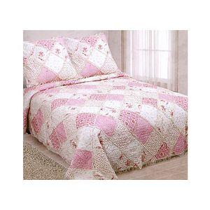 couvre lit boutis frou frou imprim s fleurs roses boutis lit 160 180 ou 200 cm. Black Bedroom Furniture Sets. Home Design Ideas