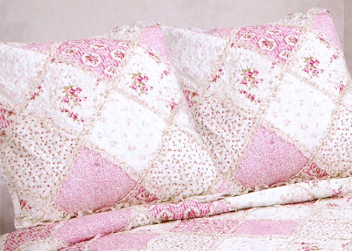 couvre lit en boutis rose Couvre lit boutis Frou frou imprimés fleurs roses   Boutis lit 160  couvre lit en boutis rose