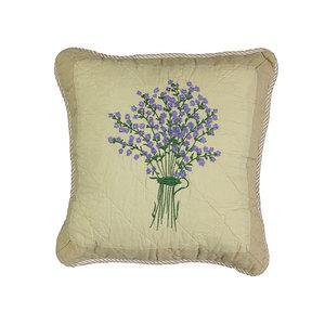 Housse de coussin boutis lin motif bouquet de lavande