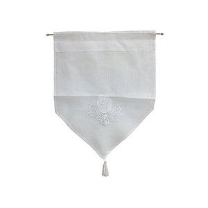 Petit rideau brodé blanc