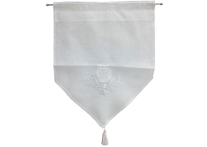 Petit rideau brod blanc petit rideau passe tringle rideau pompon - Rideau coton blanc brode ...