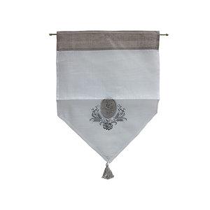 Petit rideau brodé gris et blanc
