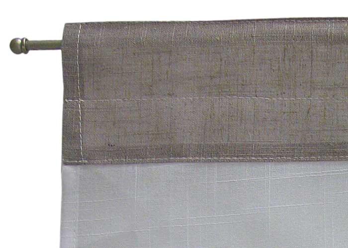 petit rideau brod gris et blanc petit rideau passe tringle rideau pompon. Black Bedroom Furniture Sets. Home Design Ideas