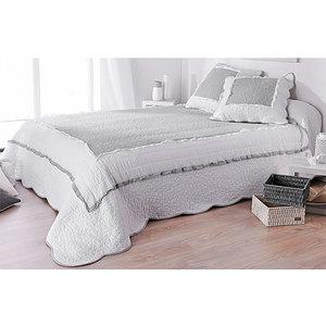 Couvre lit Boutis MARQUISE gris et blanc