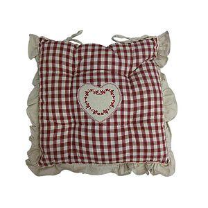 Galette de chaise carrée à frou frou écossaise