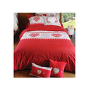 Parure Housse de couette Andorre Rouge + 2 taies d'oreiller