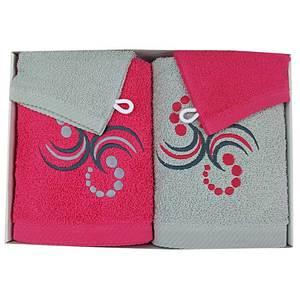 Coffret éponge 4 pièces fushia et gris motif points et arabesques