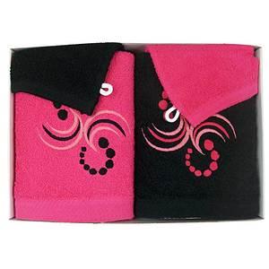 Coffret éponge 4 pièces fushia et noir motif points et arabesques