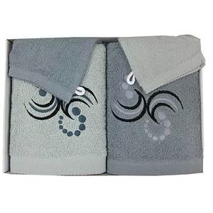 Coffret éponge 4 pièces gris clair et foncé points et arabesques