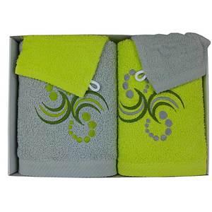 Coffret éponge 4 pièces gris et anis points et arabesques