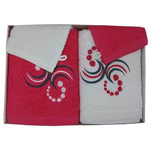Coffret éponge 4 pièces fushia et blanc motif points arabesques