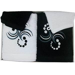 Coffret éponge 4 pièces blanc et noir motif points arabesques