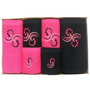 Coffret éponge 6 pièces noir et fushia Motif Points et arabesques