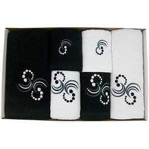 Coffret éponge 6 pièces noir et blanc Motif Points et arabesques