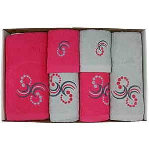 Coffret éponge 6 pièces fushia et gris motif Points et arabesques