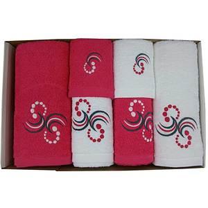 Coffret éponge 6 pièces fushia et blanc points et arabesques