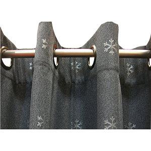 Rideau gris à flocons argentés