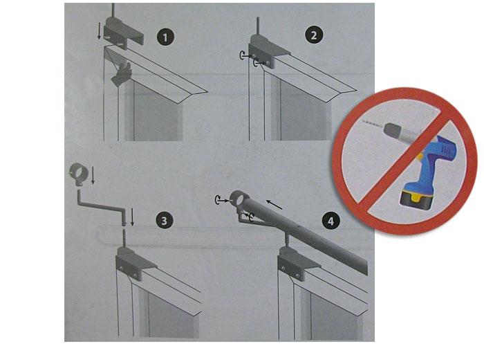 2 supports de barre rideaux sans per age coloris argent. Black Bedroom Furniture Sets. Home Design Ideas
