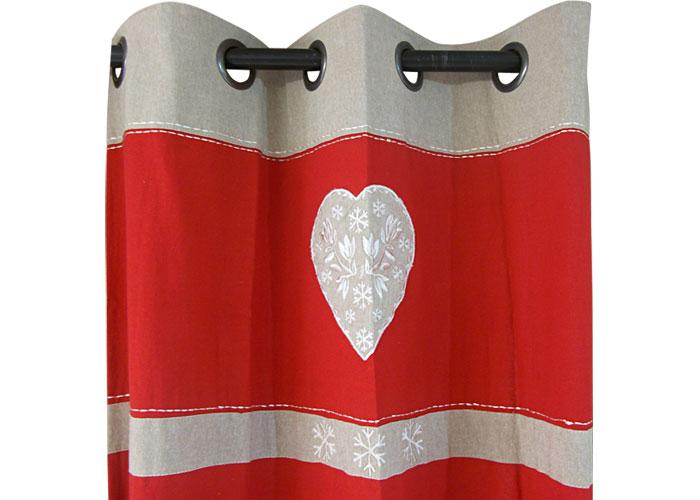 Rideau andorre rouge rideau pr t poser rouge rideau oeillets rideau - Rideau campagne rouge ...