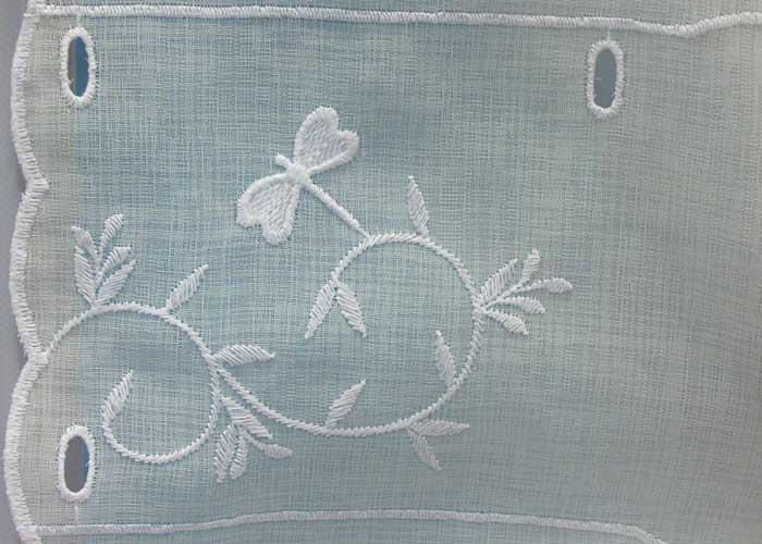 petit rideau blanc motif libellule rideau macram pas cher. Black Bedroom Furniture Sets. Home Design Ideas