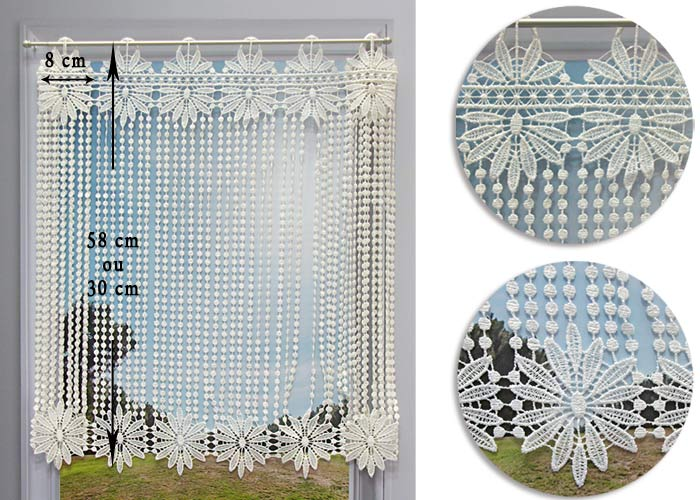 Brise bise macram cru motif fleurs et perles rideau - Macrame rideau cuisine ...