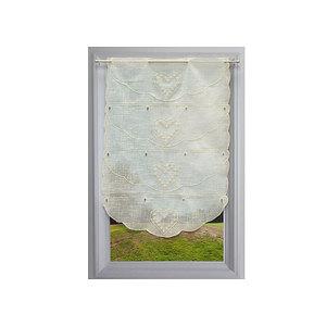 Petit rideau tissu écru aspect lin brodé motifs coeurs écrus