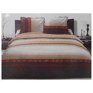 Parure de draps graphique beige et rouge lit 2 personnes 140 cm