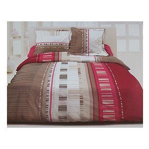 Parure de draps 4 pièces 160x190 cm Perse rose et taupe