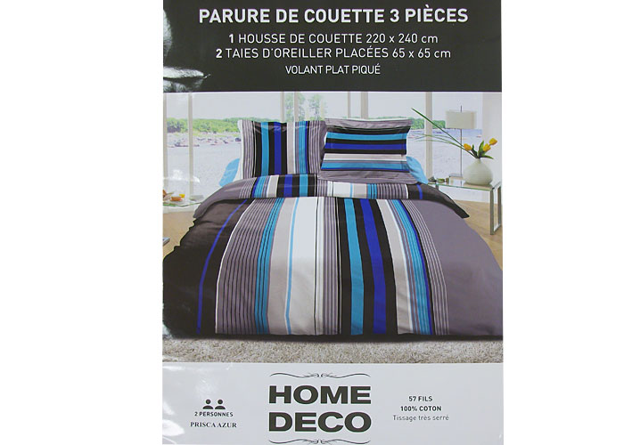 parure housse de couette ray e multicolore bleue housse couette lit 2 perso. Black Bedroom Furniture Sets. Home Design Ideas
