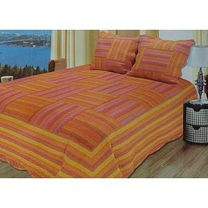 Boutis multicolore orange + 2 taies d'oreiller