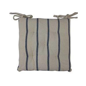 Galette de chaise Saint Tropez écru rayée gris