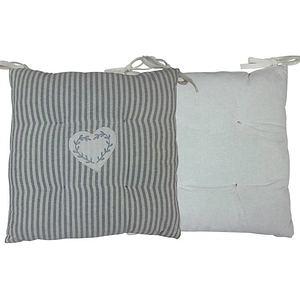 Galette de chaise CHINON rayée écru et gris