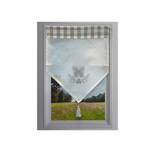 Petit rideau gris et blanc brodé papillon gris