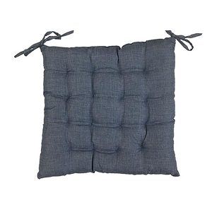 Galette de chaise Béa uni aspect lin gris