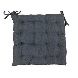 Galette de chaise Béa uni aspect lin gris anthracite