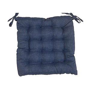 Galette de chaise Béa uni aspect lin bleu