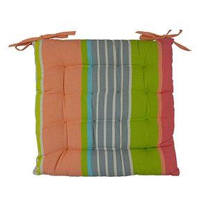 Galette de chaise rayée multicolore