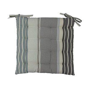 Galette de chaise rayée gris et taupe