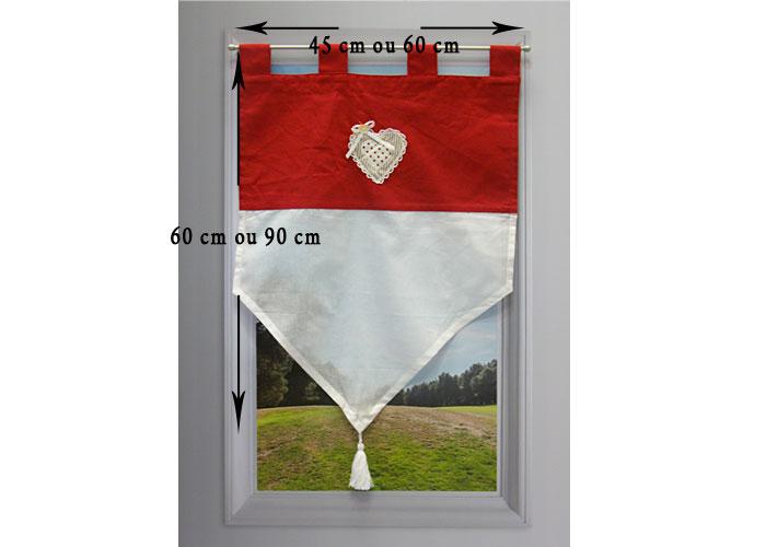 Brise bise v rone rouge petit rideau voile cru parement for Fenetre 45x60