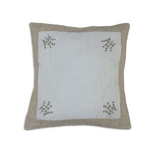 Housse de coussin lin blanc brodé motif brin de lavande
