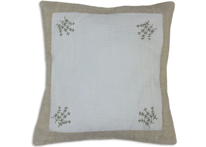 Housse de coussin lin blanc brod motif brin de lavande for Housse de coussin blanc