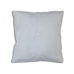 Housse de coussin blanc avec broderie blanche