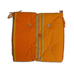 Coussin de chaise imperméable rayée orange et ocre