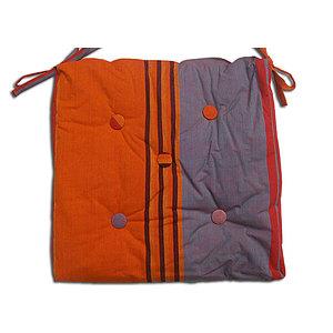 Coussin de chaise imperméable rayée orange et gris