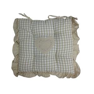 Galette de chaise carrée écossaise beige et lin à frou frou